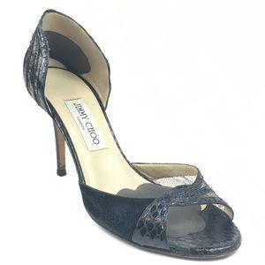 Jimmy Choo Black Lace Snake D'Orsay Heels